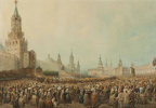Moscow. Check the coronation procession in the Kremlin's Spassky gate 17 Aug 1856, during the coronation of Emperor Alexander II