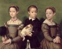 Three children with a dog