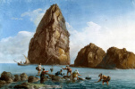 Жан-Пьер-Лоран Уэль. Вид скал третьего острова Циклопов