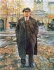 VI Lenin on the background of Smolny