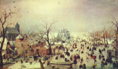 Winter landscape with ice-skating