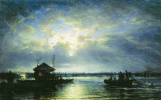 Summer night on the Neva near the seaside