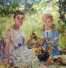 Summer (Portrait Of A. N. Pechiney with her daughter Ia)