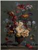 Arrangement of flowers including hibiscus, bluebells, delphinium and nasturtiums
