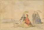 Эжен Буден. Пара сидящая и пара,которая прогуливается по пляжу