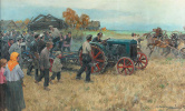 The tractor in the village