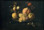Хуан де Сурбаран. Натюрморт с фруктами и щеглом