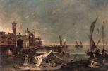 Франческо Гварди. Пейзаж с палаткой рыбаков