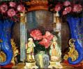 Натюрморт с фарфоровыми фигурками и розами