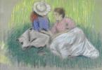 Федерико Дзандоменеги. Жещина с девочкой на траве