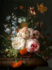 Roses, marigolds, hyacinths and other flowers on a marble ledge