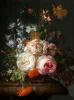 Розы, бархатцы, гиацинты и другие цветы на мраморном выступе