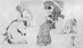 Georges Seurat. Sketch shapes