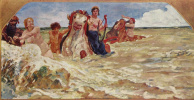 Mural Villa Albers: Sea goddess in the surf