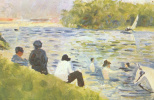 Georges Seurat. Bathers and white horse in the river