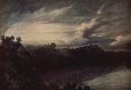Вид озера с замком Гандольфо на заходе солнца
