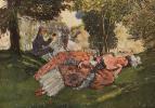 Константин Андреевич Сомов. Заснувшая на траве молодая женщина