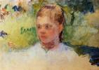 Мэри Кассат. Голова девушки. Зеленый фон