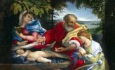 Лоренцо Лотто. Отдых Святого Семейства со Святой Юстиной на пути в Египет