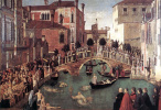 Gentile Bellini. The miracle of the Holy cross at the bridge of San Lorenzo in Venice