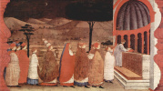 The legend of the communion. The host perenositsya to Church for secondary consecration