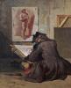 Молодой рисовальщик копирует академические этюды