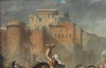 Jacques-Louis David. Sabine women stopping the battle between Romans and sabinyanami. Fragment III