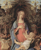 Алтарь Барди, Мадонна на троне, Иоанн Креститель и Иоанн Евангелист. Деталь: Мария и младенец Христос