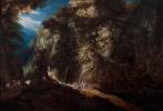 Гейсбрехт Лейтенс. Лесистый горный пейзаж с водопадом и путешественниками