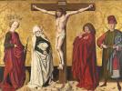 Jesus on the cross between saints Mary, John, Catherine and Sebastian