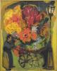 Цветочная повозка под уличным фонарем