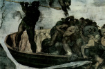 Микеланджело Буонарроти. Страшный суд, фреска алтарной стены Сикстинской капеллы, деталь: Харон, паромщик подземного мира, перевозит проклятые души в ад