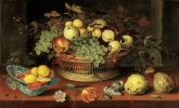 Балтазар ван дер Аст. Корзина с фруктами и тарелка с лимонами и морепродуктами