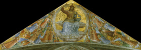 Fra Beato Angelico. Christ in glory. Fragment of the fresco of the chapel of the Madonna di San Brisio