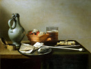Still life with clay pipes, tobacco and a jug