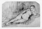 Рембрандт Харменс ван Рейн. Лежащая обнажённая натурщица