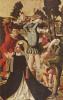 Алтарь Иакова и Стефана, правая внутренняя створка, сцена внизу. Побиение камнями св. Стефана