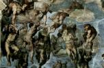 Микеланджело Буонарроти. Страшный суд, деталь: Ангел поднимает души на небо