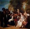 Расстроенная графиня Трифальди появлением бороды просит Дон Кихота отомстить за нее