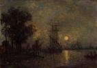 Ян Бартолд Йонгкинд. Голландский пейзаж с пристыкованной лодкой