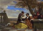 Ян Стен. Двое мужчин и молодая женщина музицируют на террасе