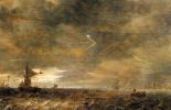 Ян ван Гойен. Парусные лодки в грозу