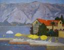 Пейзаж с желтыми зонтиками