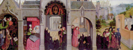 Simon Marmion. Altarpiece of the Church of Saint-Bertin in Saint-Omer. The front side of the left leaf. Scenes from the life of St Bertin
