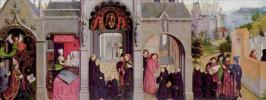 Симон Мармион. Алтарный образ церкви Сен-Бертен в Сент-Омере. Лицевая сторона левой створки. Сцены из жития св. Бертена