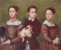 Трое детей с собакой
