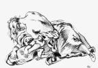 Эжен Делакруа. Девушка склоняется над лежащей на земле женщиной (Возможно - эскиз Атилла)