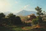 Франц Крюгер. Пейзаж с горами и замком в Зальцбурге