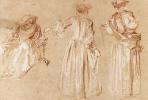 Антуан Ватто. Три эскиза женщины в шляпе