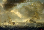 The sea with ships in a rainy day